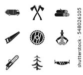 cutting down trees icons set.... | Shutterstock . vector #548026105
