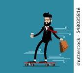 businessman riding skateboard... | Shutterstock .eps vector #548035816
