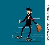 businessman riding skateboard... | Shutterstock .eps vector #548035822