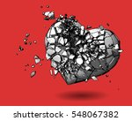 Monochrome broken heart with pen and ink drawing illustration style on red background