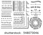 Stock vector set of floral hand drawn border 548073046