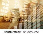 double exposure of city  graph  ... | Shutterstock . vector #548093692