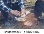 people are camping outdoor with ... | Shutterstock . vector #548094502