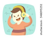 happy smiling young man listens ... | Shutterstock .eps vector #548095252