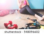 fitness female in black pants... | Shutterstock . vector #548096602