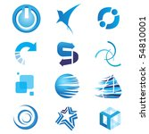 Blue Icon Elements - stock vector
