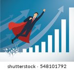 businessman and red cape...   Shutterstock .eps vector #548101792
