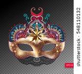 3d gold venetian carnival mask... | Shutterstock .eps vector #548110132