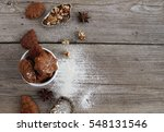 homemade cookies on a wooden... | Shutterstock . vector #548131546