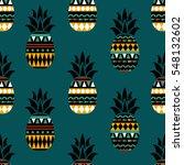 pineapple seamless pattern.... | Shutterstock .eps vector #548132602