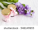 a powder jars on a white towel | Shutterstock . vector #548149855