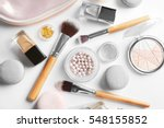 makeup products with cosmetic... | Shutterstock . vector #548155852
