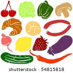 set of a various food... | Shutterstock .eps vector #54815818