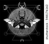 horned bug.  esoteric symbol ... | Shutterstock .eps vector #548176162