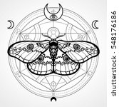 night moth. mystical circle.... | Shutterstock .eps vector #548176186