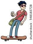 young boy on skateboard  vector ... | Shutterstock .eps vector #548183728