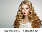 beautiful girl with long wavy... | Shutterstock . vector #548185552
