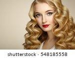 beautiful girl with long wavy... | Shutterstock . vector #548185558