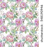 watercolor floral pattern of... | Shutterstock . vector #548190946