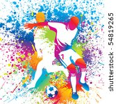 football players with a soccer... | Shutterstock .eps vector #54819265