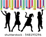 silhouettes of girls on the... | Shutterstock .eps vector #548195296