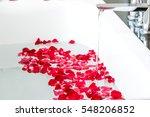 Stock photo rose petals put in bathtub for romantic bathroom in honeymoon suit arranged by interior designer 548206852