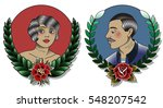 vector traditional tattoo woman ... | Shutterstock .eps vector #548207542