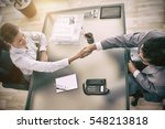 above view of young consultant... | Shutterstock . vector #548213818