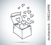 hearts flying from box freehand ... | Shutterstock .eps vector #548216998