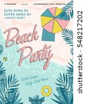 beach party tropical poster... | Shutterstock .eps vector #548217202