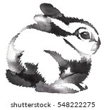 Stock photo black and white monochrome painting with water and ink draw rabbit illustration 548222275
