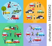 road accident concept icons set ...