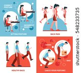 correct and incorrect postures... | Shutterstock .eps vector #548233735