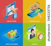 online store 4 isometric icons... | Shutterstock .eps vector #548233756