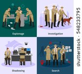 spy flat concept with... | Shutterstock .eps vector #548233795