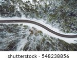 Aerial View Of Snowy Forest...