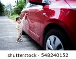 infant boy with car.   Shutterstock . vector #548240152