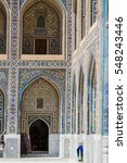 Small photo of Tilya Kori Madrasah, Registan, Samarkand, Uzbekistan, Central Asia. Samarkand is one of the cities on antique Silk Road.