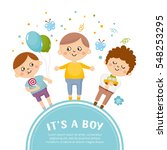 baby shower concept with a cute ... | Shutterstock .eps vector #548253295