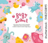 baby shower card template.... | Shutterstock .eps vector #548253895