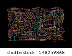 neon colors on a black... | Shutterstock .eps vector #548259868