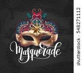 3d gold venetian carnival mask... | Shutterstock .eps vector #548271112