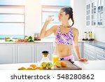 young fit woman in sportswear... | Shutterstock . vector #548280862