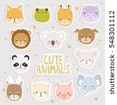 big set of cute cartoon animals ... | Shutterstock .eps vector #548301112