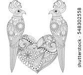exotic tropical zentangle bird... | Shutterstock .eps vector #548302558