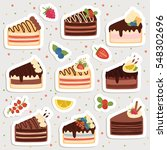 big set of cute cartoon cakes... | Shutterstock .eps vector #548302696