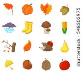 Autumn Items Icons Set. Cartoo...