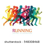 running marathon  people run ... | Shutterstock .eps vector #548308468