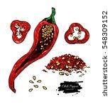 chili pepper hand drawn vector... | Shutterstock .eps vector #548309152