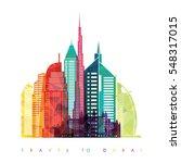dubai city skyline detailed...   Shutterstock .eps vector #548317015